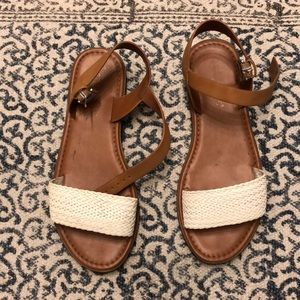 Tan and white sandal